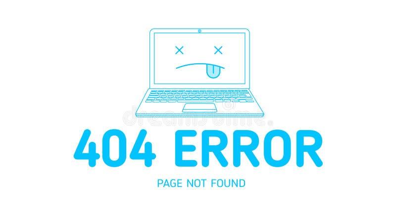 страница 404 ошибок найденная с белизной иллюстрация вектора