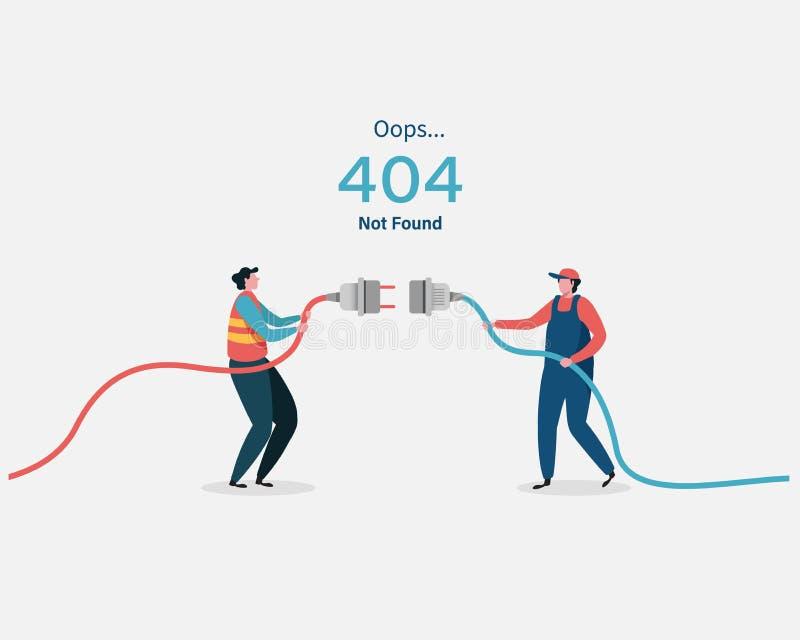 страница 404 ошибок не нашла обновления системы, загружая, деятельность, вычисляя, программы установки обслуживание системы Плоск иллюстрация штока