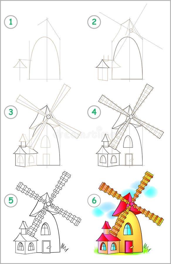 Страница показывает как выучить шаг за шагом нарисовать ветрянку Превращаясь искусства детей для рисовать и красить иллюстрация штока