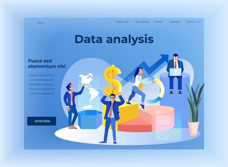 Страница посадки анализа данных финансов дела плоская иллюстрация вектора