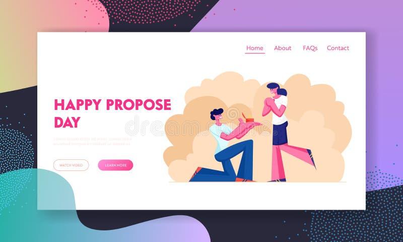 Страница посадки вебсайта захвата, стойка молодого человека на колене с кольцом в руке делая предложение к женщине спрашивая, что иллюстрация штока