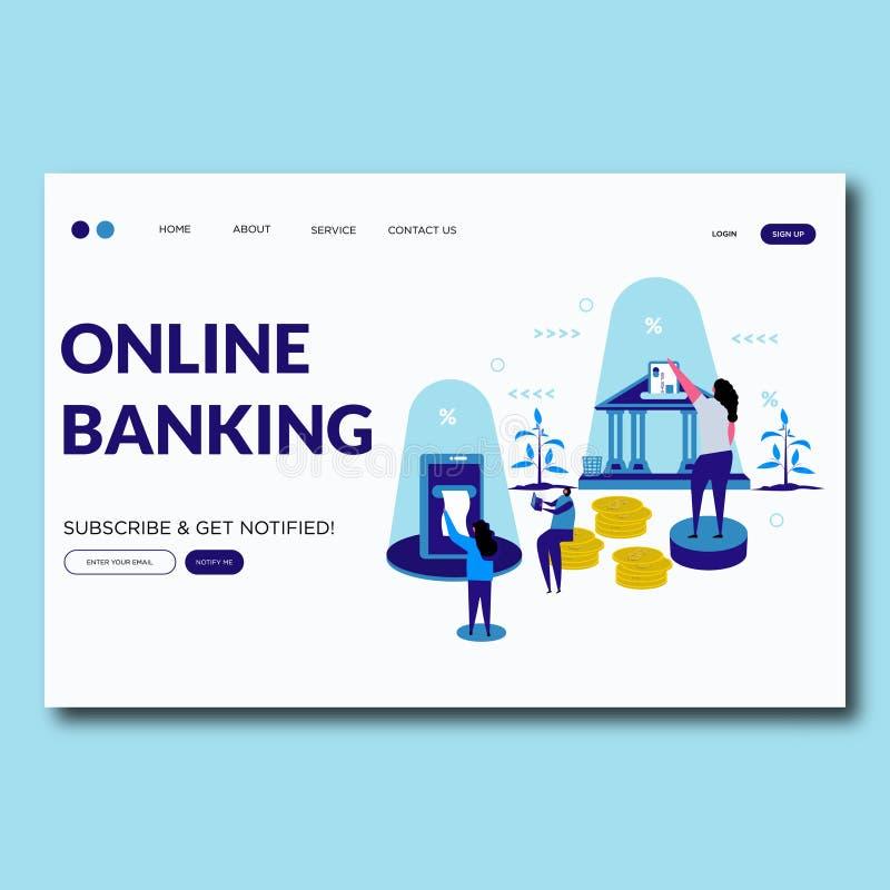Страница посадки иллюстрации вектора онлайн-банкингов онлайн кренить иллюстрация штока