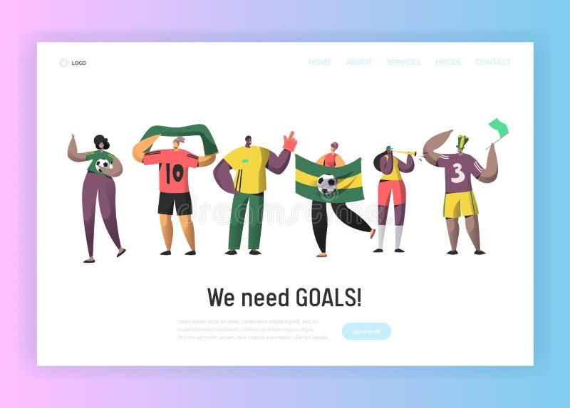 Страница посадки команды вентилятора Бразилии футбола установленная Счастливые друзья празднуют бразильскую победу события футбол иллюстрация штока