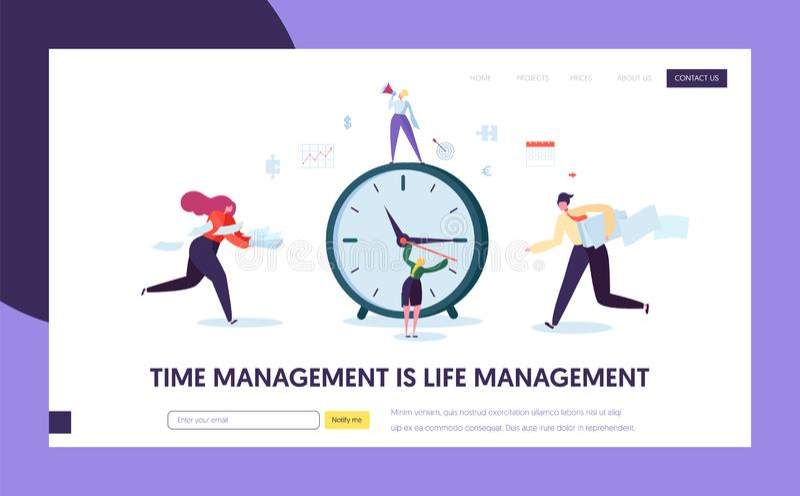 Страница посадки концепции контроля времени дела Шаблон оптимизирования расписания организации характеров для вебсайта иллюстрация вектора