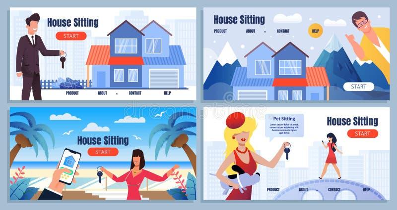Страница посадки мультфильма экономики доли дома сидя иллюстрация вектора