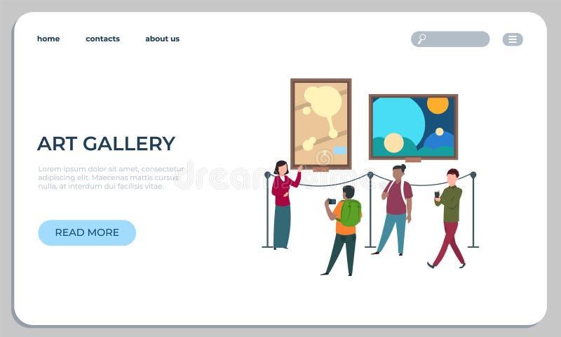 Страница посадки произведений искусства Телезрители идут и наблюдают вебсайт картины и художественных произведений Веб-страница в иллюстрация вектора