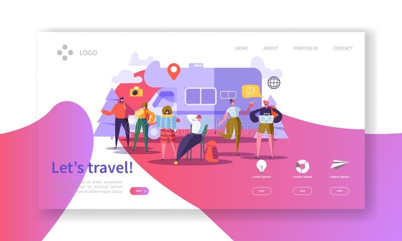 Страница посадки туризма и индустрии туризма Лето путешествуя каникулы праздника с плоским шаблоном вебсайта характеров людей иллюстрация штока