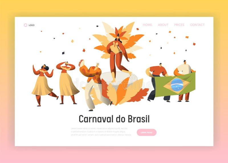 Страница посадки характера танцора самбы масленицы Бразилии Танец женщины человека на бразильском латинском экзотическом фестивал бесплатная иллюстрация