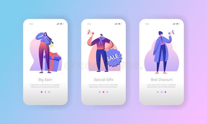 Страница приложения характера маркетинга рекламы продажи мобильная на наборе экрана Женщина и человек сделать особенное предложен иллюстрация штока