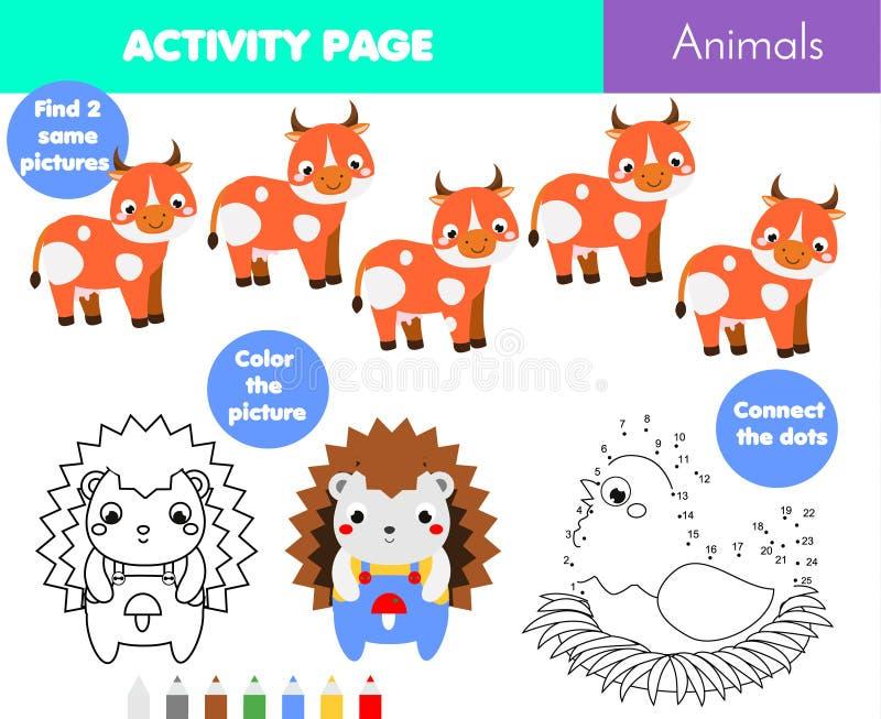 Страница развлечений для детей Воспитательный комплект игры детей Страница темы животных крася, соединяет точки бесплатная иллюстрация