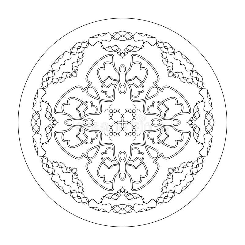 Страница раскрашивания мандала Бабочки мандала, иллюстрация вектора черно-белый Художественная терапия Декоративные элементы стоковая фотография rf