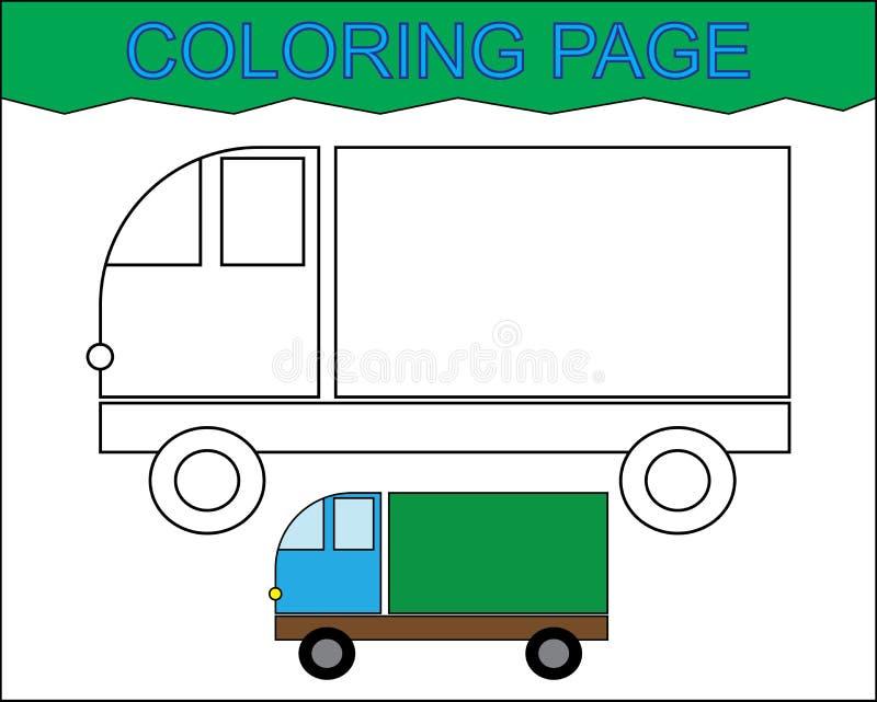 Страница расцветки Автомобиль имущества, переход Деятельность для детей бесплатная иллюстрация