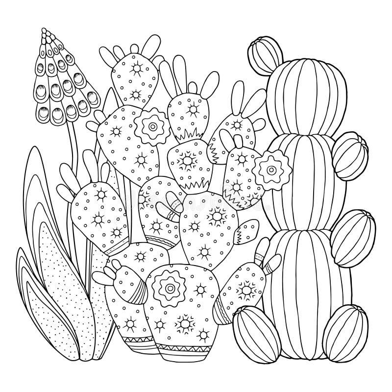 Страница расцветки вектора Линейное изображение на кактусе белой предпосылки милом для страницы для книжка-раскраски Изображение