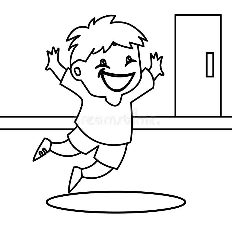 Страница расцветки восторженного ребенка скача иллюстрация штока