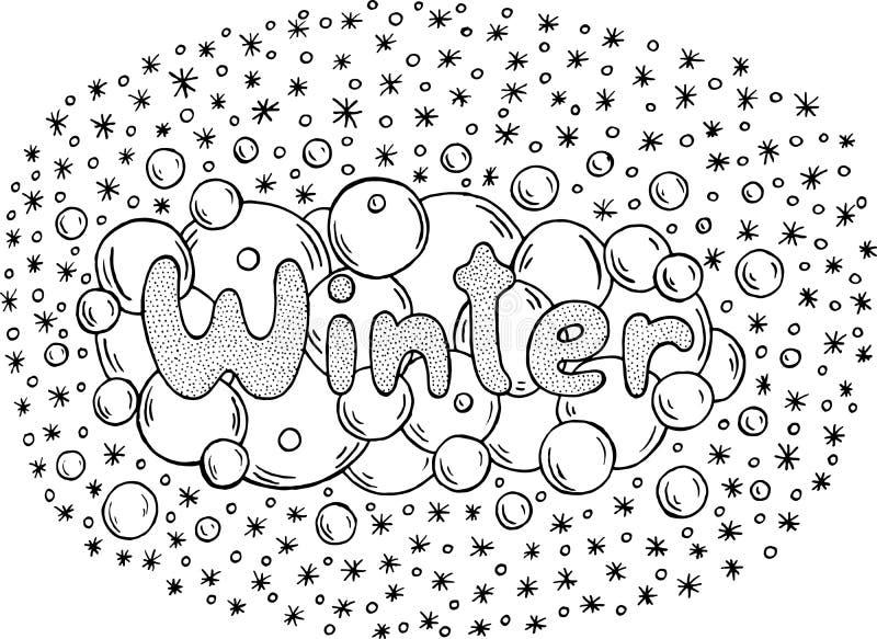 Страница расцветки для взрослых с мандалой и словом зимы Doodle le иллюстрация вектора