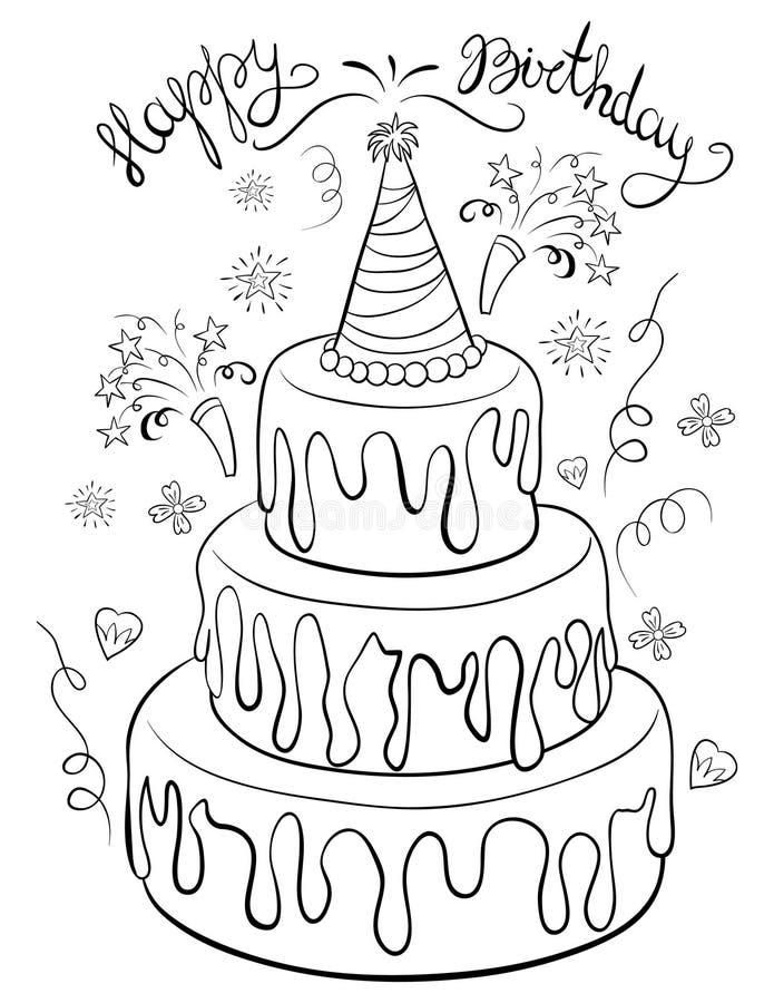 Страница расцветки, записывает торт с изображением литерности для детей Линия иллюстрация стиля искусства иллюстрация штока