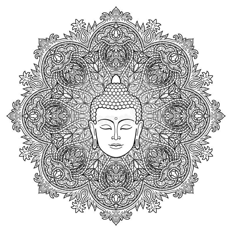 Страница расцветки мандалы Будды иллюстрация штока