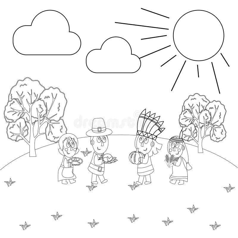 Страница расцветки официальный праздник в США в память первых колонистов Массачусетса иллюстрация штока