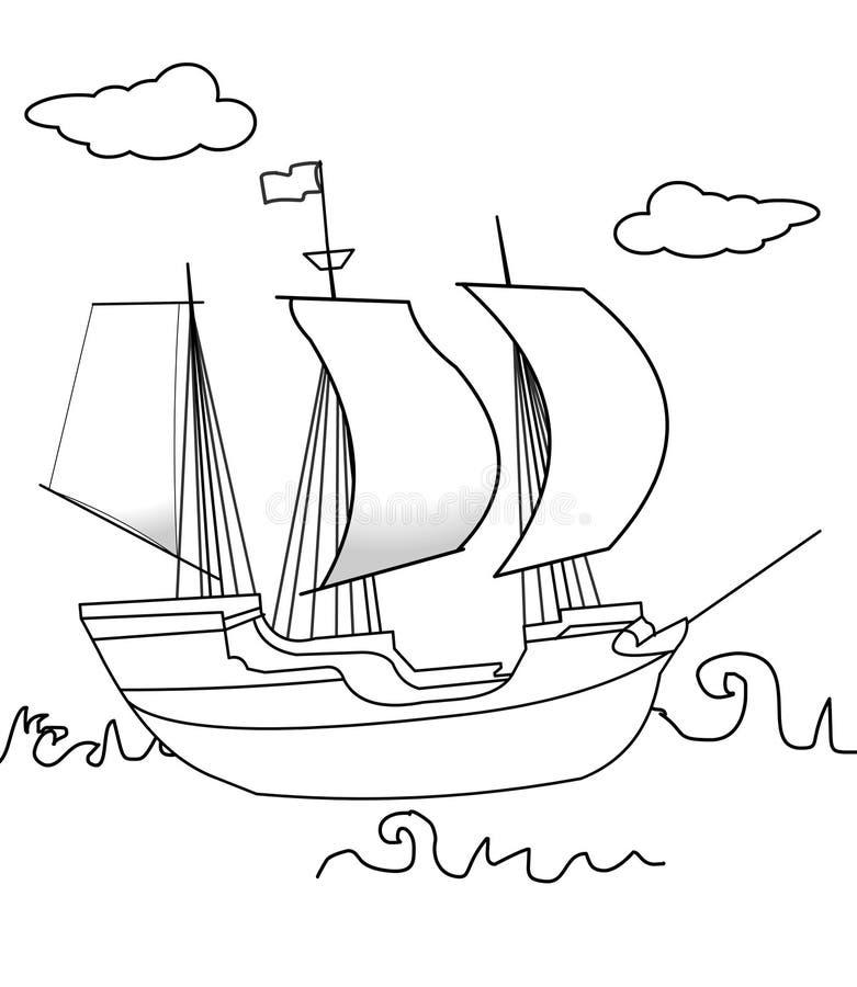 Страница расцветки парусного судна бесплатная иллюстрация