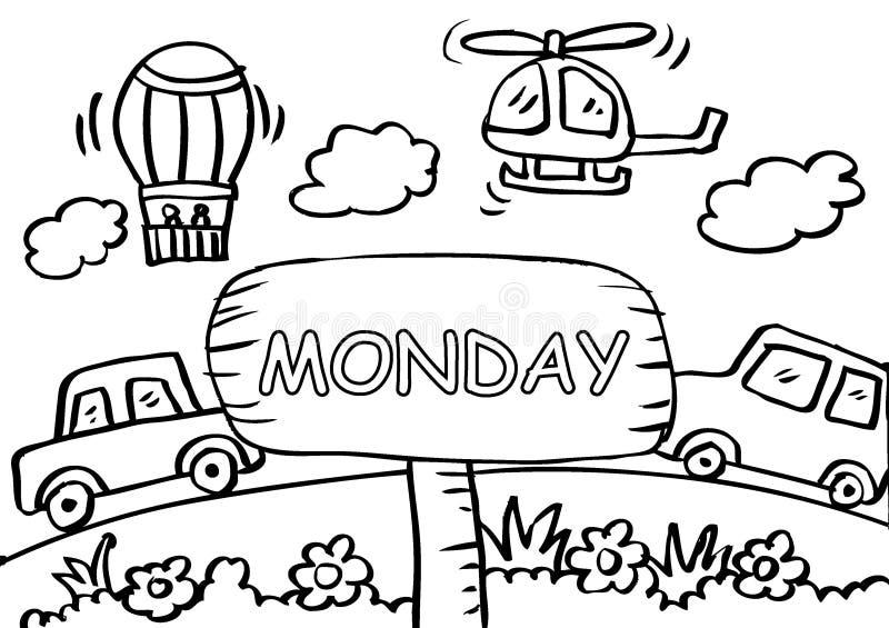 Страница расцветки понедельника с транспортом иллюстрация штока