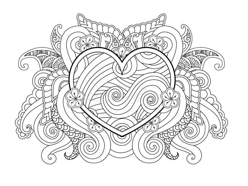 Страница расцветки при изолированные сердце и абстрактный элемент Счастливый график дня валентинок для печати, карточки иллюстрация вектора