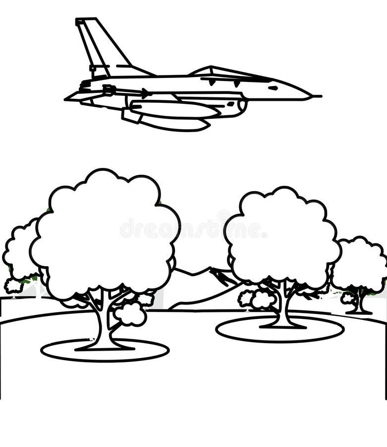 Страница расцветки реактивного истребителя иллюстрация штока