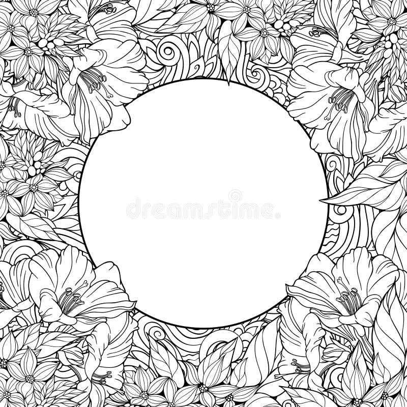 Страница расцветки с безшовной картиной цветков и места для tex иллюстрация вектора