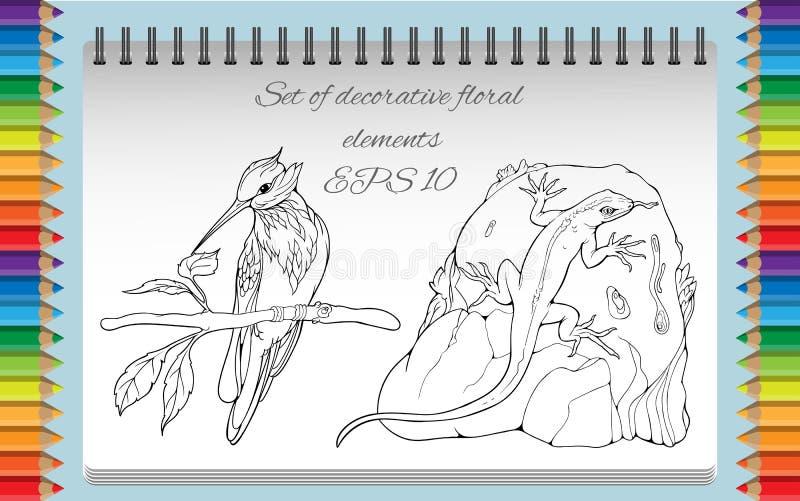Страница расцветки с изолированными объектами птицы на a иллюстрация вектора