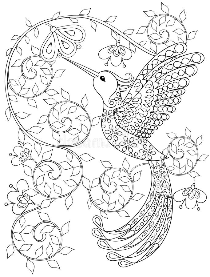 Страница расцветки с колибри, летящей птицей zentangle для взрослого