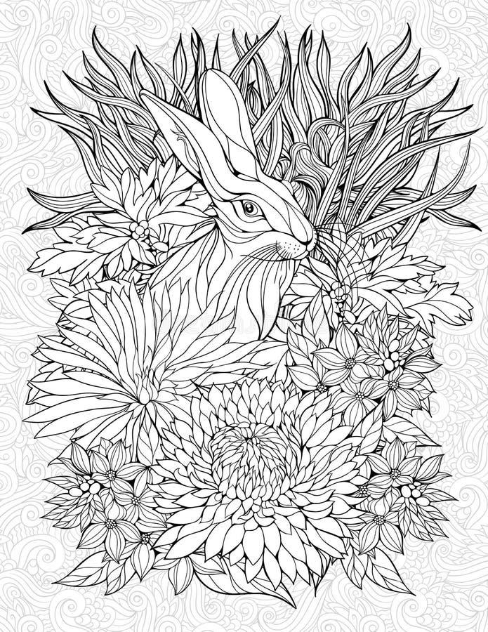 Страница расцветки с кроликом иллюстрация штока