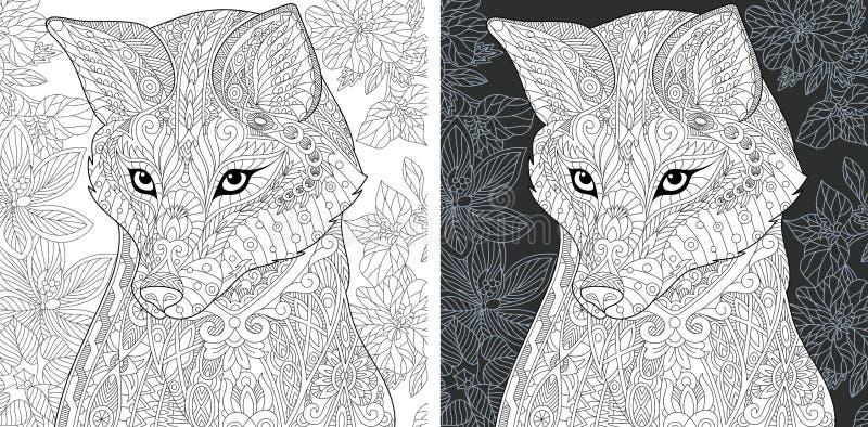 Страница расцветки с лисой иллюстрация вектора