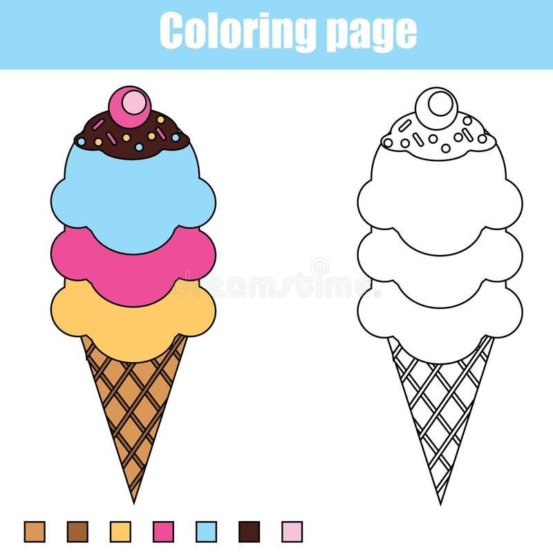 Страница расцветки с мороженым Воспитательная игра детей, printable чертеж ягнится деятельность иллюстрация штока