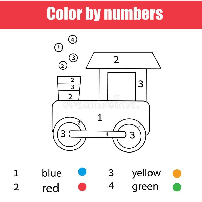 Страница расцветки с поездом игрушки Цвет номерами, printable рабочее лист Воспитательная игра для детей, малышей и детей иллюстрация штока