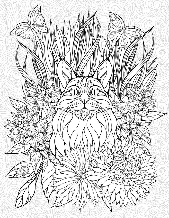 Страница расцветки с рысем иллюстрация штока