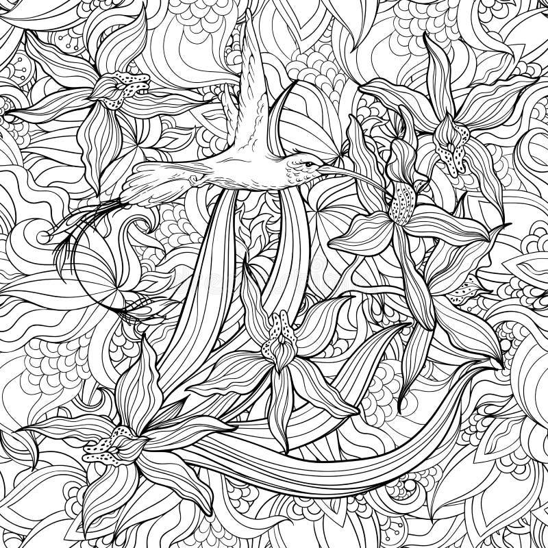 Страница расцветки с цветками и колибри иллюстрация штока