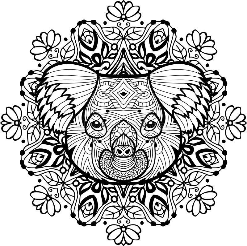 Страница расцветки тотема для взрослых Голова коалы бесплатная иллюстрация