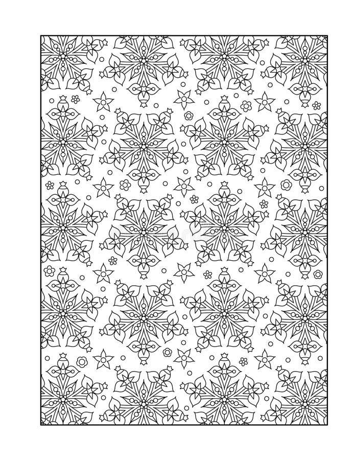 Страница расцветки для взрослых, или черно-белая орнаментальная предпосылка иллюстрация вектора