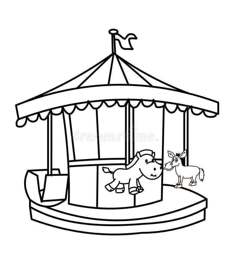 Страница расцветки Carousel иллюстрация вектора