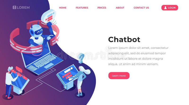 Страница шаблона Chatbot равновеликая приземляясь Онлайн робот работы с клиентом, обслуживание помощи, люди беседуя с приложением бесплатная иллюстрация