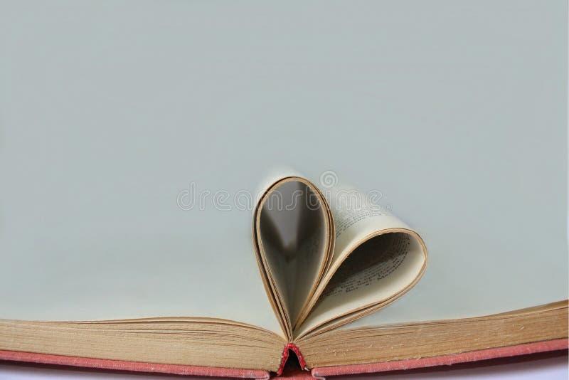 Страницы открытой книги свернули в форме сердца с светом - серой предпосылкой стоковые изображения rf