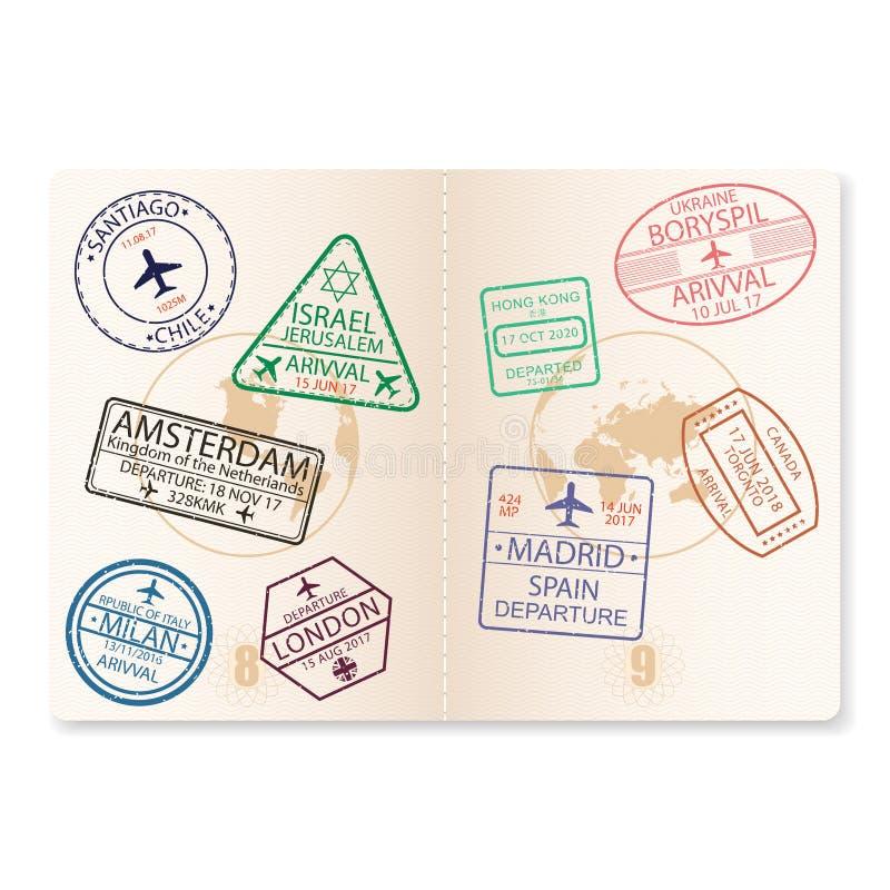 Страницы пасспорта с штемпелями визы Документ с знаком авиапорта для летать на самолет, перемещение вектор бесплатная иллюстрация
