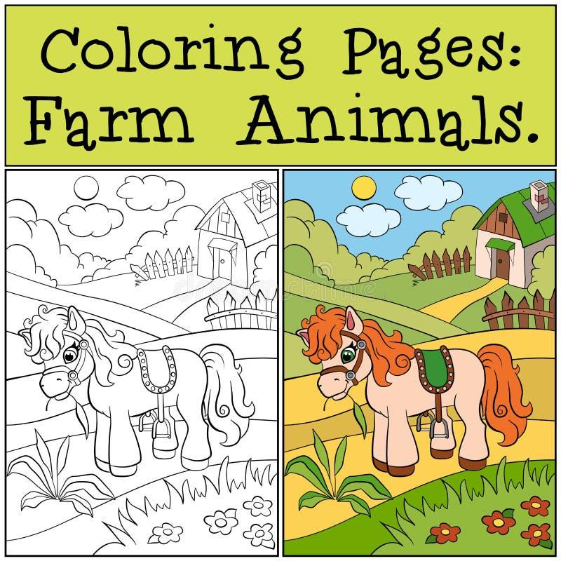 Страницы расцветки: Животноводческие фермы Маленький милый пони иллюстрация штока