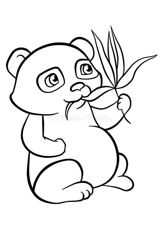 Страницы расцветки Маленькая милая панда бесплатная иллюстрация
