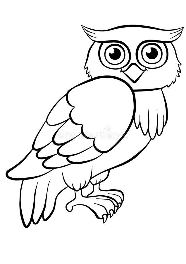 Страницы расцветки птиц милый сыч иллюстрация штока