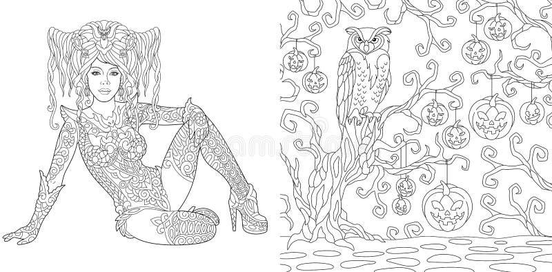 Страницы расцветки с девушкой и сычом хеллоуина иллюстрация штока