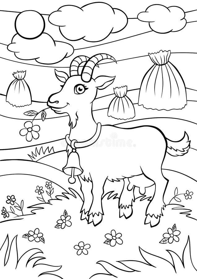 Страницы расцветки angoras Маленькая милая коза иллюстрация вектора