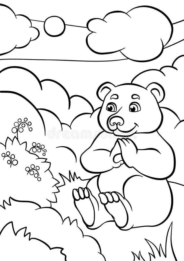 Страницы расцветки angoras Немногое милый медведь иллюстрация вектора