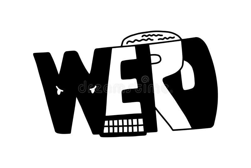 Странное рукописное черно-белый контраст в стиле мультфильма иллюстрация штока