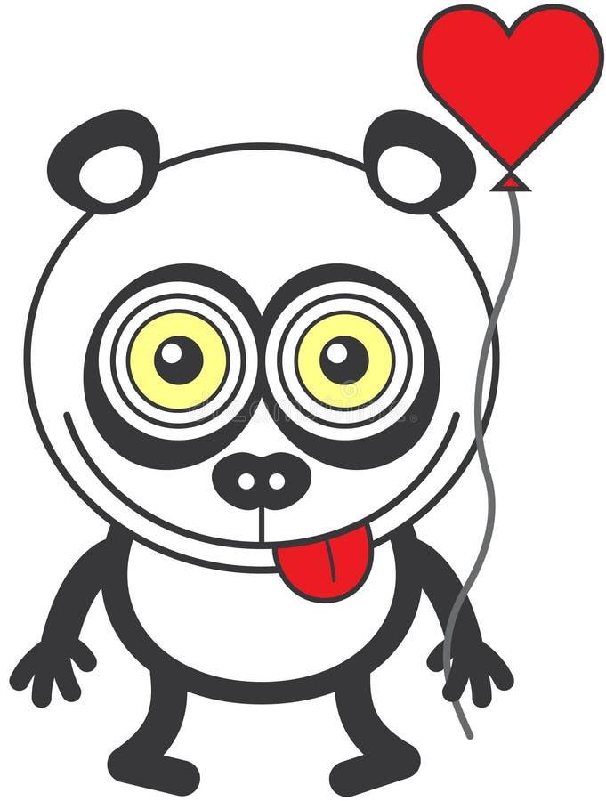 Странный медведь панды чувствуя сумашедше в влюбленности иллюстрация штока