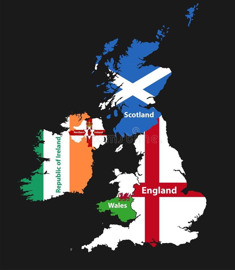 Страны великобританских островов: Объединенная карта KingdomEngland, Шотландии, Уэльса, Северной Ирландии и Ирландской Республики бесплатная иллюстрация